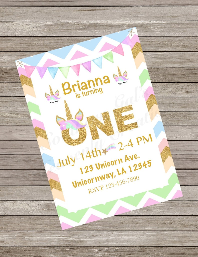 Unicorn Birthday Party Invitation First One Year
