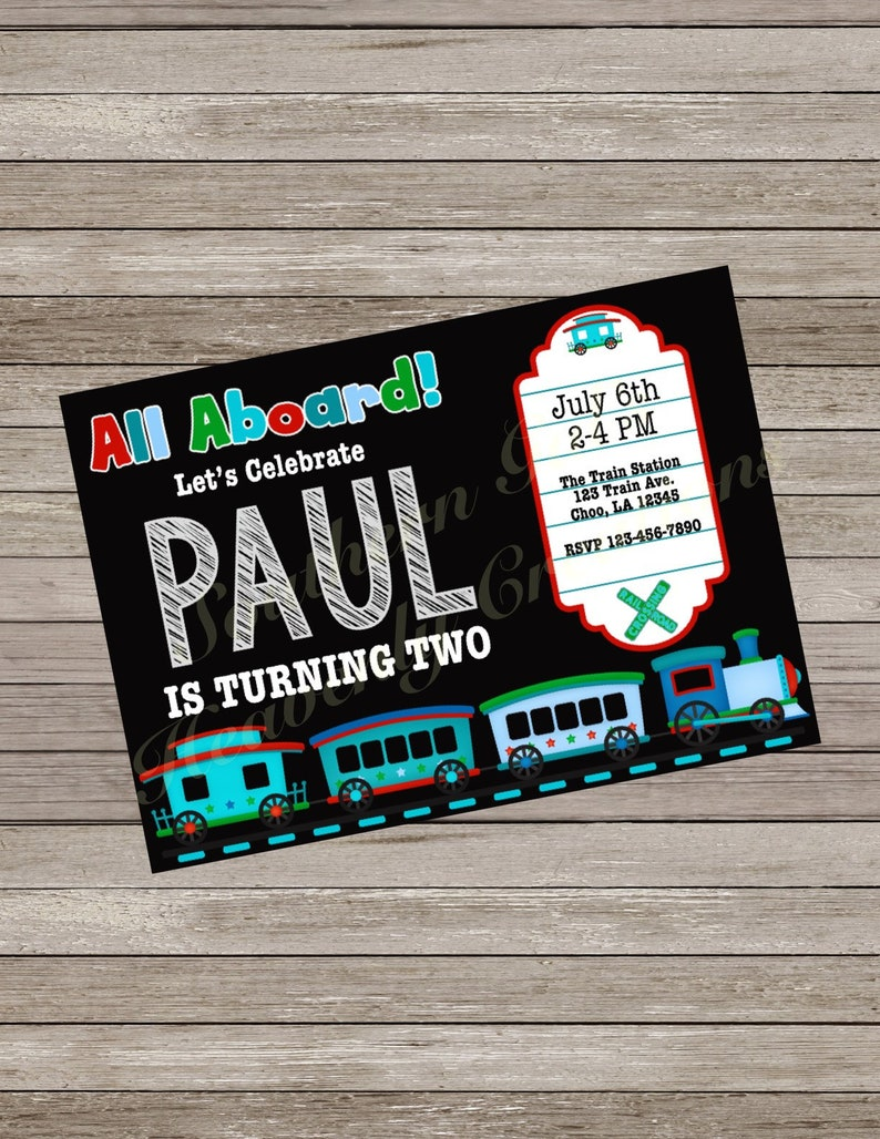 Train Birthday Party Invitation