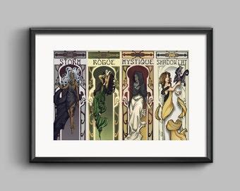X-men Marvel Comics Art Nouveau Poster Print Rogue Storm Mystique Shadowcat