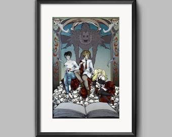 Deathnote Anime Art Nouveau Poster Print Light L Misa Ryuuk