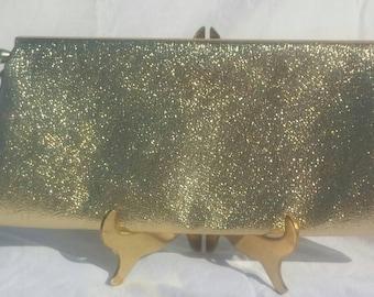 Vintage Gold metallic evening bag, clutch