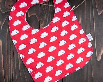 Hearts and Clouds Baby Bib