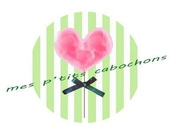 20 mm - nice glass Ref heart lollipop cabochon