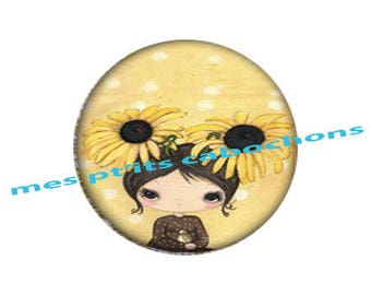 18 mm - nice Ref yellow flowers glass cabochon