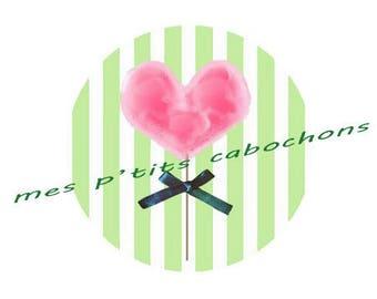 12 mm - nice glass Ref heart lollipop cabochon