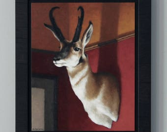 Antelope Taxidermy Painting Original Art Oil Painting Rustic Home Decor Framed Wall Art by Sarah Becktel