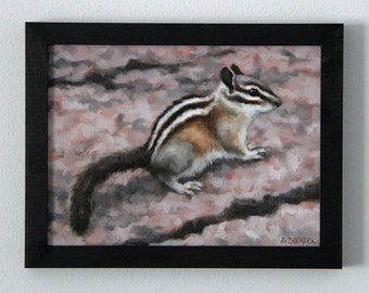 Painting Chipmunk Original Art Oil Painting Rustic Home Decor Framed Wall Art by Sarah Becktel