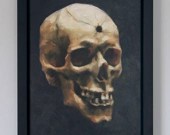 Skull Painting Original Framed Art Oil Painting Gothic Home Decor Wall Art by Sarah Becktel
