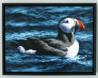 Puffin Painting Original Art Oil Painting Coastal Home Decor Framed Wall Art by Sarah Becktel