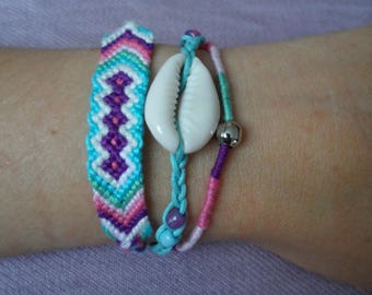Trendy turquoise ethnic bracelet with shell