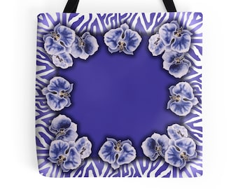 Blue Orchids - Tote Bag  - Printed from original silk painting