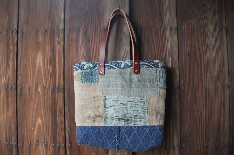 57b26a42dc38 Vintage Japanese sashiko stitched indigo boro tote bag