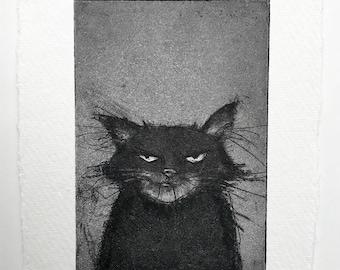 Grumpy Cat etching - Original handpulled print - 10 x 15 cm (black & white art, black cat illustration, grumpy cat print, cat art)