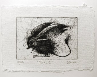 Mouse etching 02 - Original handpulled print - 7 x 10 cm (mouse illustration, mice drawing, minimalist black and white art)