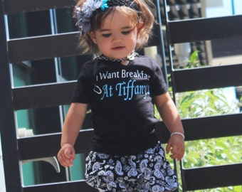 Breakfast at Tiffany's, baby girl outfit, baby clothes, handmade onesie, baby shower gift, baby onesie, personalized onesie, Audrey Hepburn