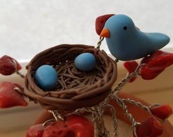 Polymer Clay Bluebird Nest