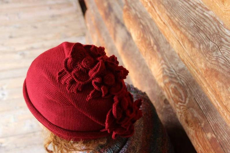 Knit womens winter hat Crochet flower hat Designer slouchy hat for her Crochet red beanie Winter fashion accessories Hats wool beanie