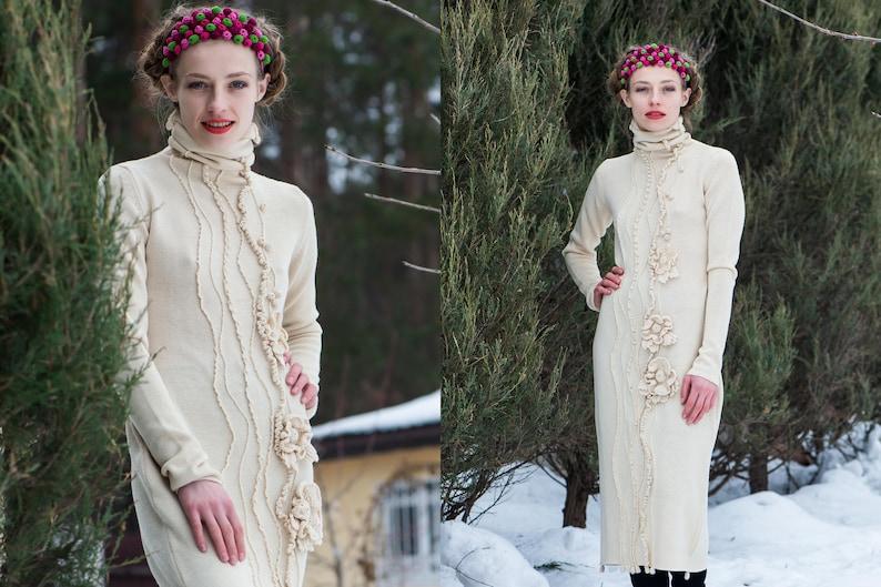 f9468578 Ekskluzywna dzianina suknia ślubna ecru Długa sukienka z kwiatami beżowy  ciepły długi rękaw sukienka zima szampana Ivory suknia ślubna zima