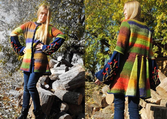 women coat Wool Stripe cardigan sweater with knit sleeves sweater cardigan bright knit cardigan pom spring long boho oversize knit pom coat rx0dwZnx