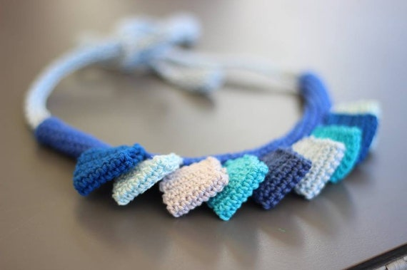 knitted cotton jewelry boho textile collar necklace Multicolor crochet bib necklace geometrical chunky knit choker yarn knit accessories