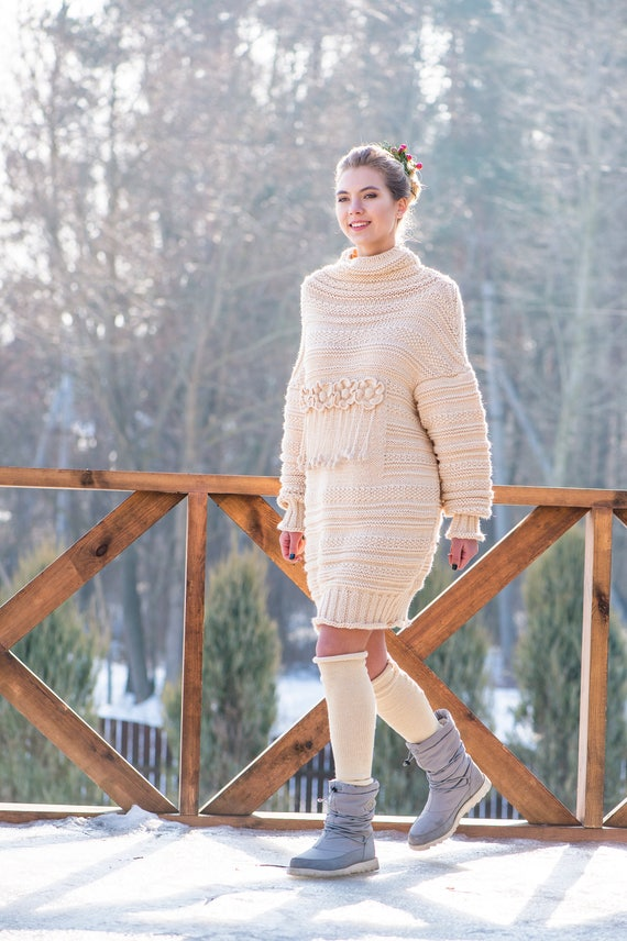 Christmas boho style sweater Knitted July sweater off knit knit chunky spring sweater in dress oversize cream knit flower sweater white r7rwOR