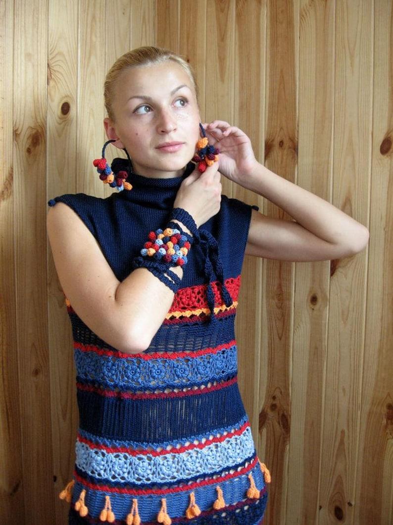 dbac5556c63 Sleeveless blue dress Turtleneck knitted clothing Striped