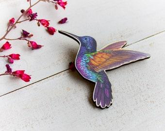 hummingbird brooch,colorful hummingbird,hummingbird jewelry,hummingbird pin,bird lovers,bird brooch,illustration brooch,unusual brooch