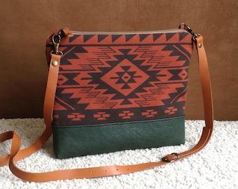 Aztec bag,Tribal print,cross body bag,Bulgarian print,day bag,leather strap,Native bag,women clutch,messenger bag,screen print,unique gift