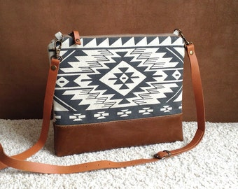 Tribal cross body bag,Bulgarian Print,Aztec bag,Boho,every day bag,leather bottom purse,Navajo,Black and White clutch,Southwest Bag,for her