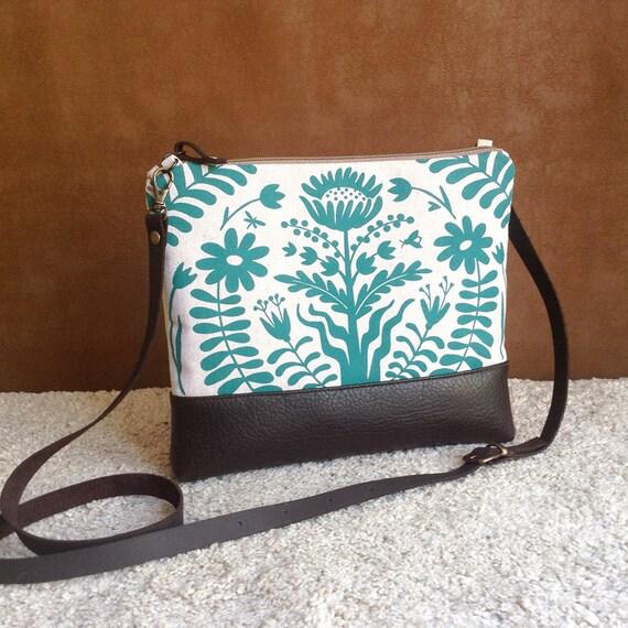 Turquoise Floral BagCanvas Cross Body BagFolk Print  9d513882b7173