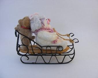 Christmas Snowman Figurine-Puppy- little girl Sledding-brown dog-pink hat- winter- snowman decoration- puppy kisses-Christmas decoration