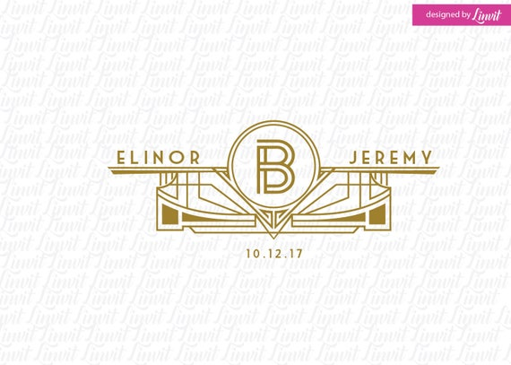 art deco wedding logo art deco wedding template art deco etsy