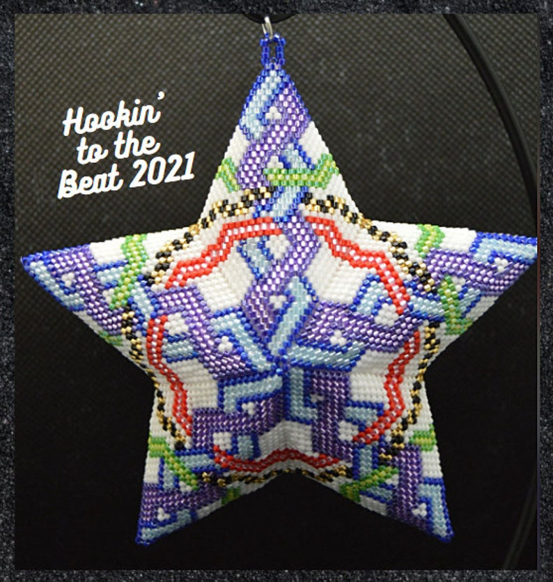 Digital Download 2 Woven Ribbons Peyote Star No