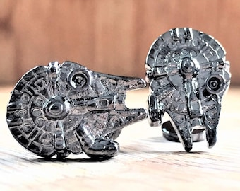 Star wars Millennium Falcon Cufflinks in gloss black metal finish