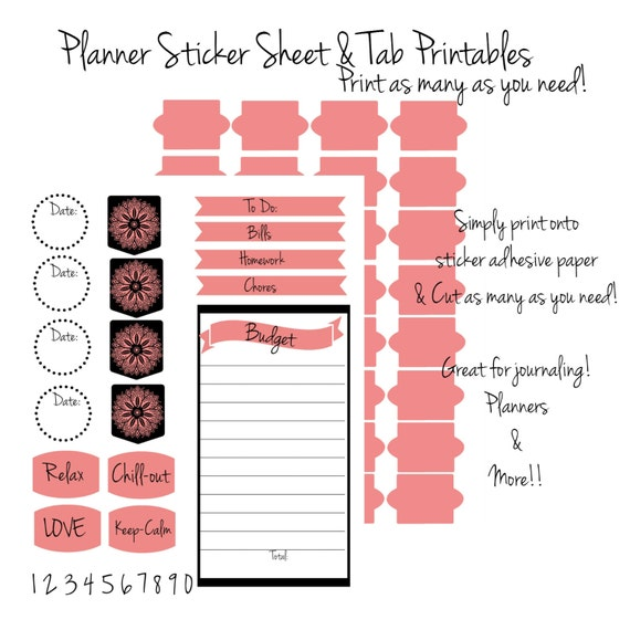 picture relating to Printable Tabs called Filofax Planner Stickers - Printable Stickers - Printable Tabs - Coral and Black