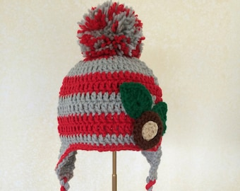 meet b5ea5 166fa ... czech osu childrens hat red hat with scarlet and grey pom toddler ohio  state hat ohio ...