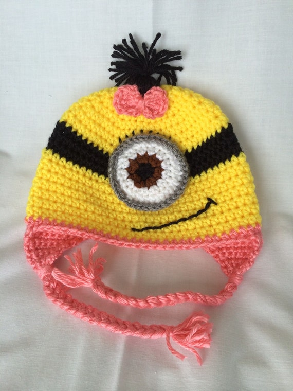 Girls Minion Hat With Bow Despicable Me Hat Crochet Minion Etsy