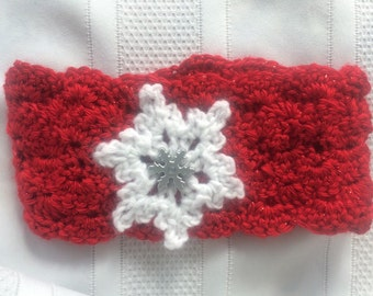 Girl's Christmas Ear Warmer, Scarlet Red Ear with White Snowflake, Christmas Headband, Red Ear Warmer, Snowflake, Winter Headband, Crochet