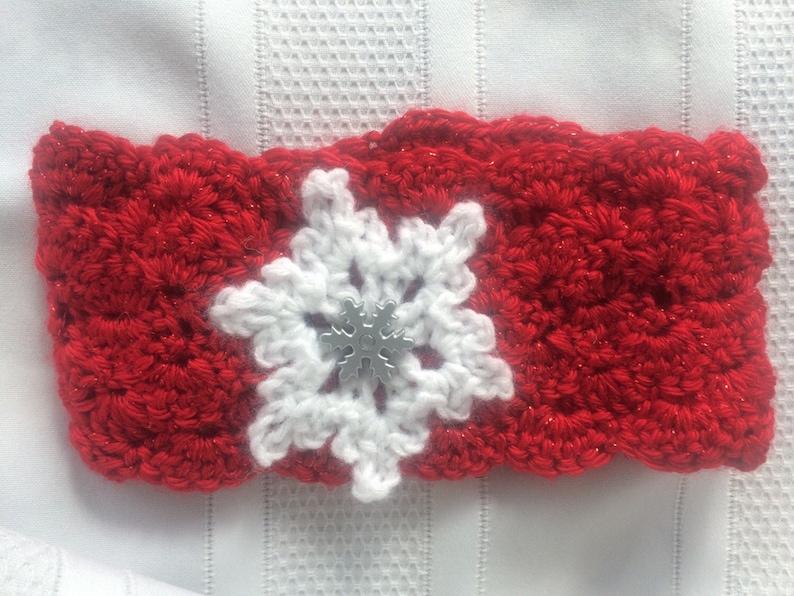 Snowflake Girl/'s Christmas Ear Warmer Christmas Headband Winter Headband Crochet Red Ear Warmer Scarlet Red Ear with White Snowflake