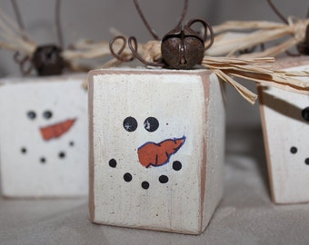 Ten Country Wood Snowman Ornaments