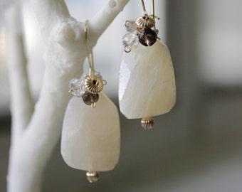 Raw Lemon Quartz and Multi-gem Cluster 3-way Earrings - Handmade