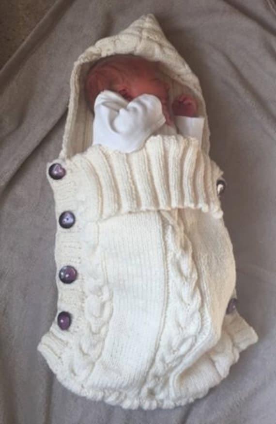 newborn baby\'s hand knitted sleep bag | Etsy