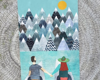 Mountains Lovers card -  Romantic Adventure gift