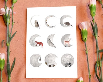 Moon Phase Print Card // Phases of the Moon // Wolf Howling at Moon // Lunar Cycle // Watercolour Moon