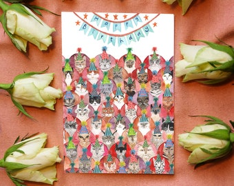 Cat Lover Birthday Card - Cats in Party Hats!