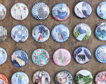 Mountain Pin // Illustrated Badge // Choice of Designs // Button Badge // Camping Pin // Adventure Gift // Explorer Pin
