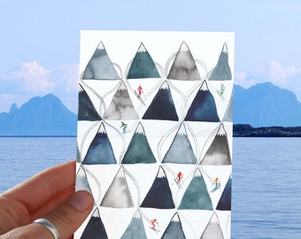Ski Mountain Greeting Card with envelope