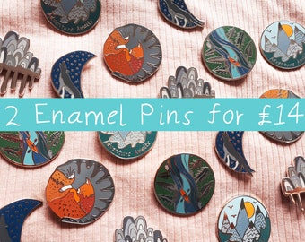 Enamel Pin Deal 2 for 14 pounds / Adventure Camping / River Kayak / Love Cats / Adventure Awaits / Every Cloud / Moon Wolf / Hard Enamel Pin