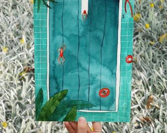 Pool Illustrated Art Card by Hattie Buckwell
