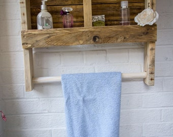 Rustic Wooden Towel Rail with Shelf made from reclaimed pallet wood